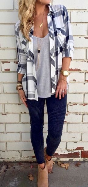 / Plaid Shirt - Beige Booties