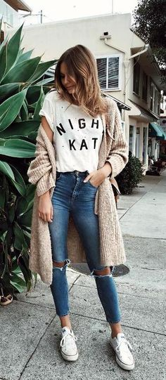 #fall #outfits / Beige Cardigan - White Tee