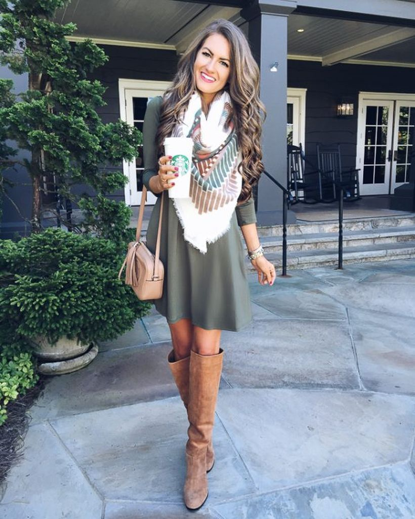 Sweater-dress-and-tall-boots.-