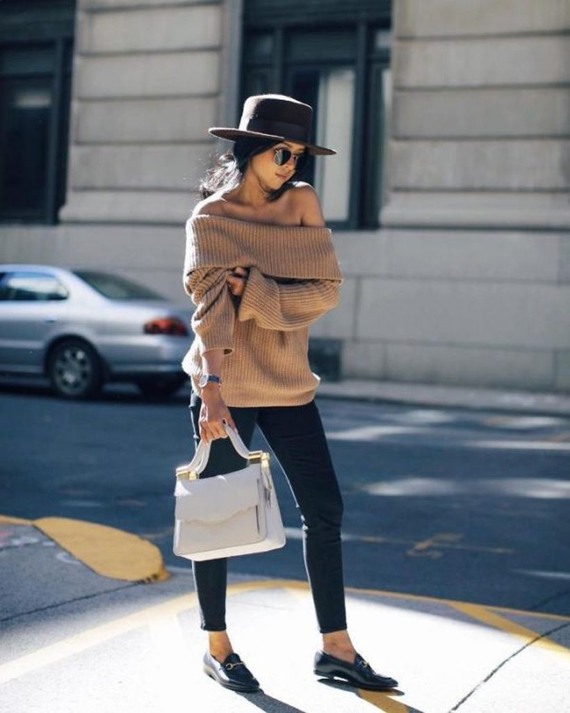 Off-shoulder-sweater-casual.-