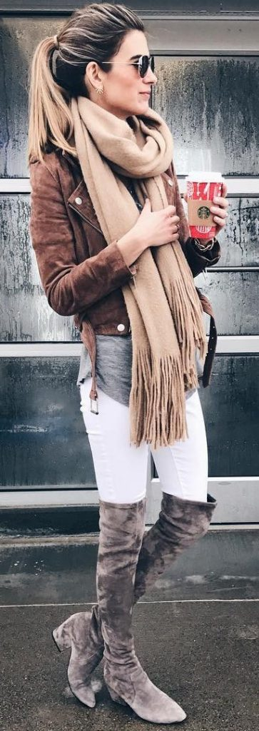 #fall #outfits / Beige Scarf - Leather Jacket