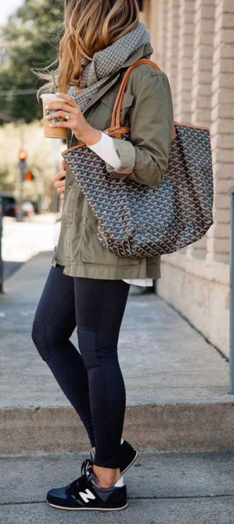 #fall #outfits / Green Olive Jacket - Grey Scarf