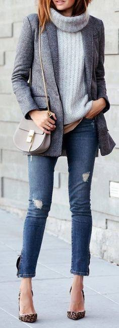 #fall #outfits / Grey Blazer - Cheetah Heels