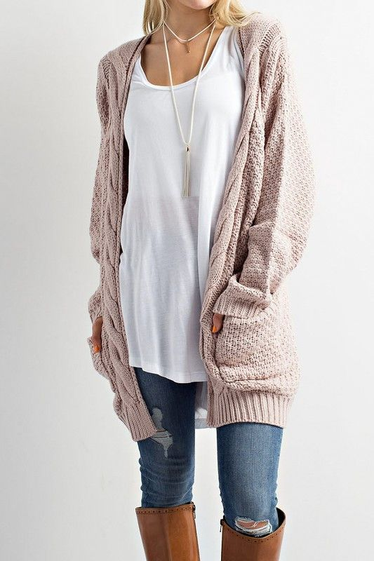 #fall #outfits / Knitted Cardigan - Tall Boots