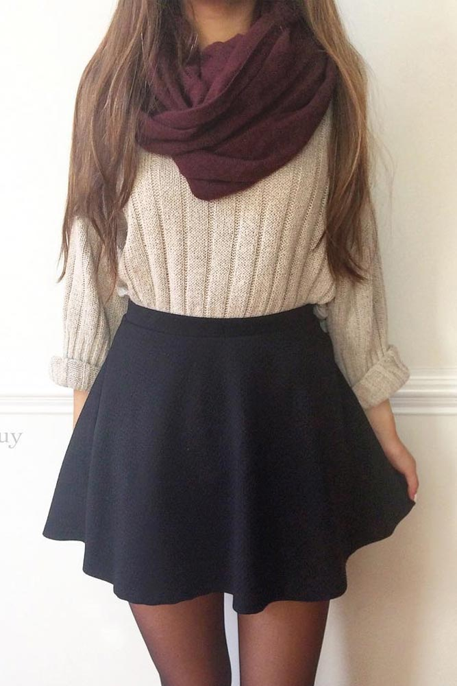 #fall #outfits / Burgundy Scarf - Black Skirt