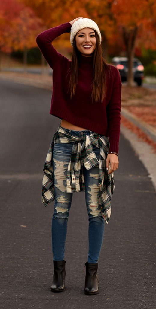#fall #outfits / Red Long Sleeve - Black Booties