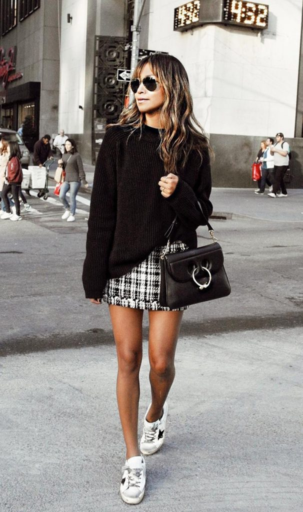 #fall #outfits / Knitted Long Sleeve - Plaid Skirt