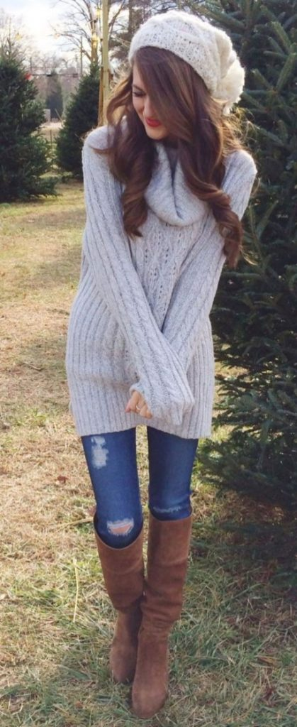 #fall #outfits / Knitted Beanie - Knitted Long Sleeve