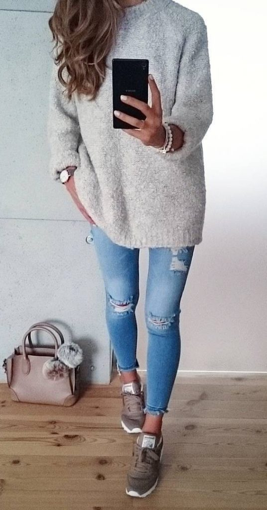 #fall #outfits / Knitted Long Sleeve - Skinny Jeans