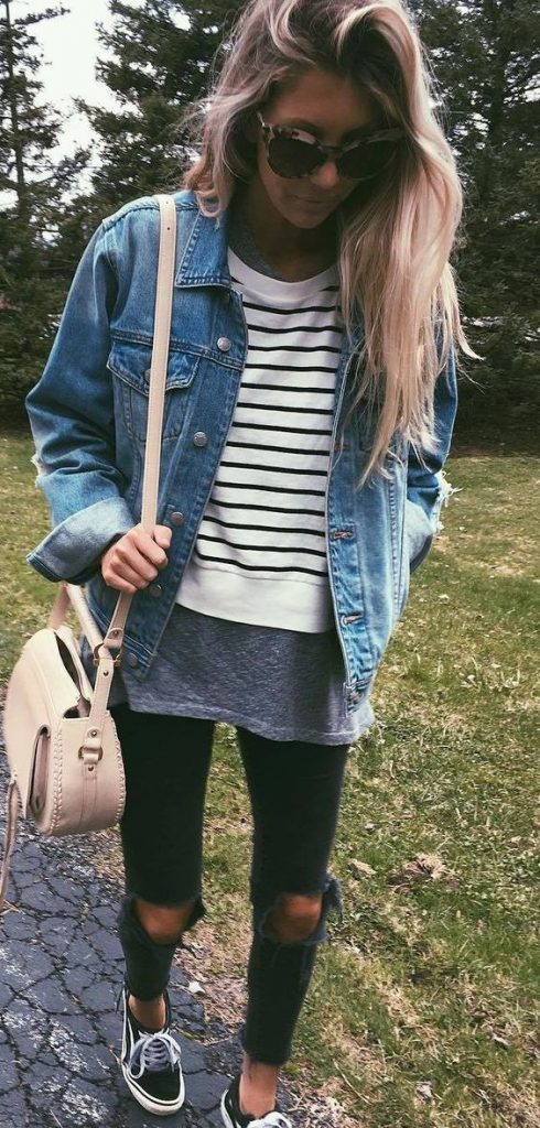 #fall #outfits / Stripes - Denim