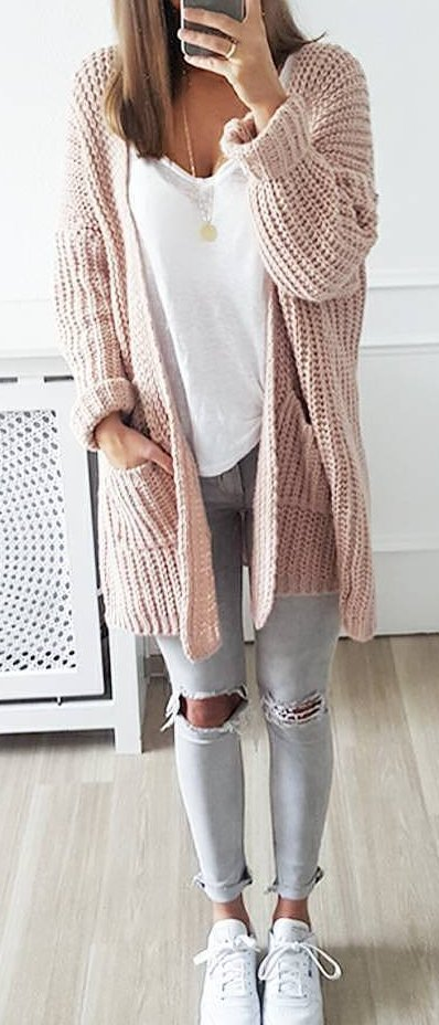 #fall #outfits / Peach Knitted Cardigan - Ripped Skinny Jeans