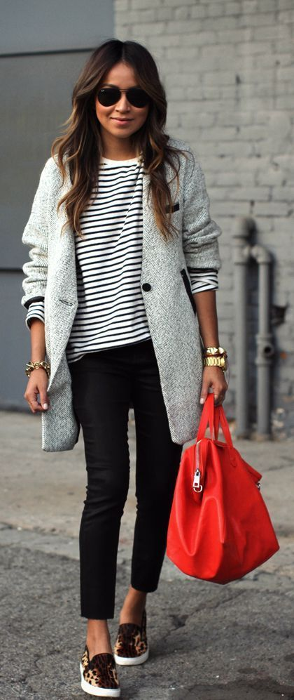 #fall #outfits / Grey Over Size Jacket - Cheetah Shoes