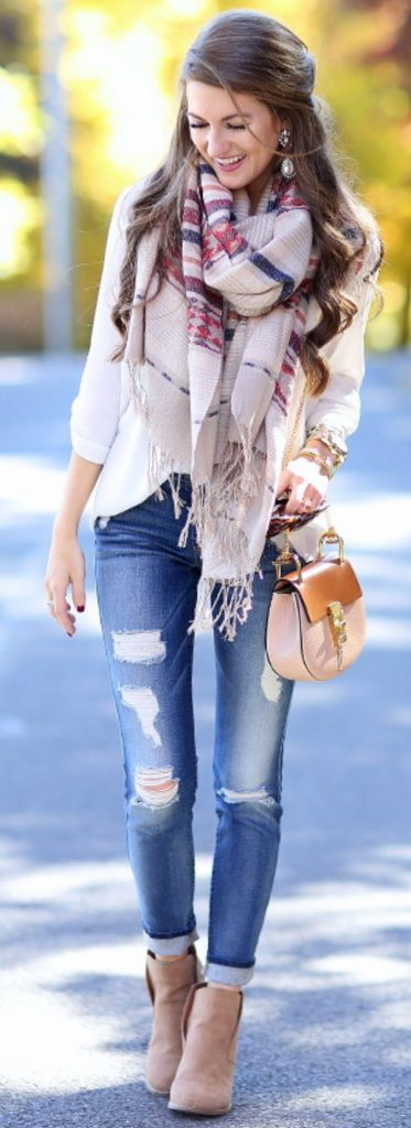 #fall #outfits / White Plaid Scarf - Beige Ankle Booties