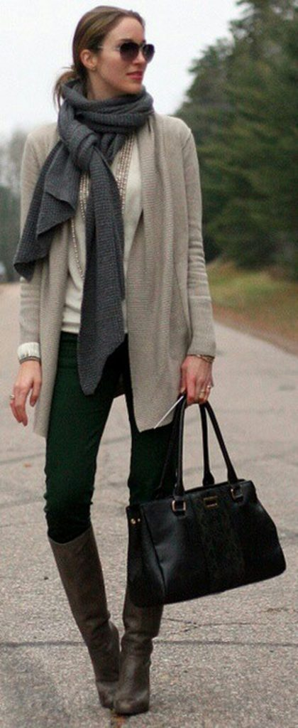 #fall #outfits / Grey Scarf - Green Jeans