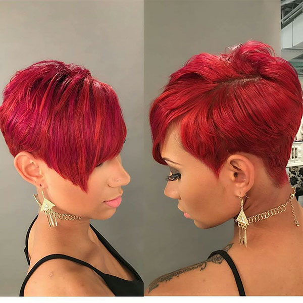Red Pixie Cut For Black Women