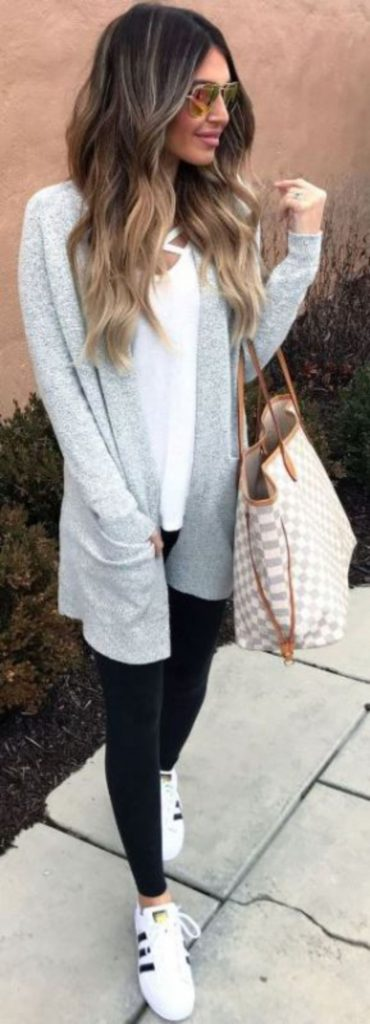 #fall #outfits / Grey Cardigan - Black Leggins