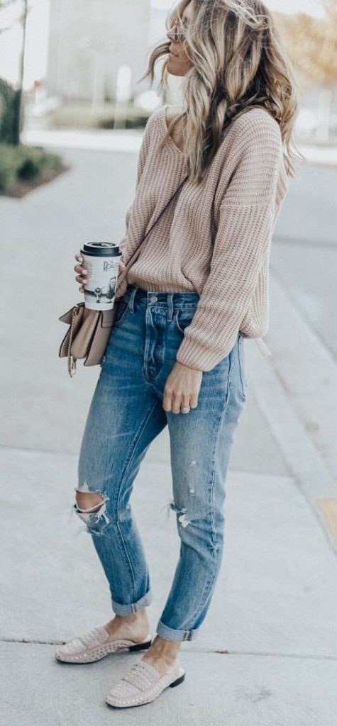 #fall #outfits / Beige Long Sleeve - Denim