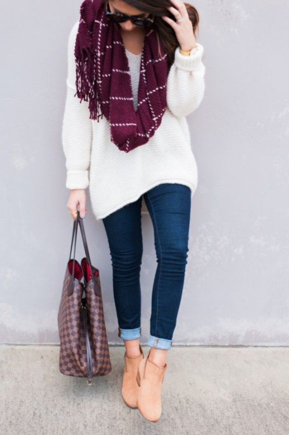 #fall #outfits / Violet Plaid Scarf - White Long Sleeve