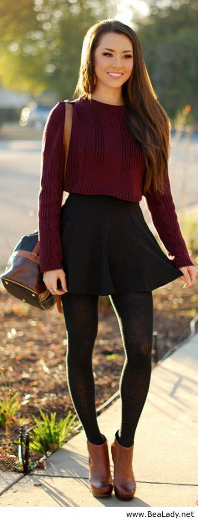 #fall #outfits / Burgundy Long Sleeve - Black Skirt