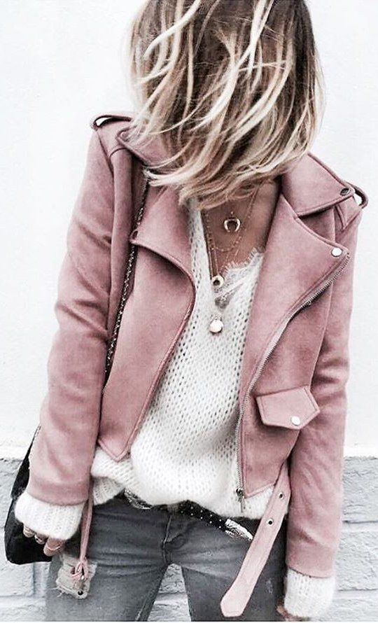 #fall #outfits / Pink Jacket - White V-Neck Top