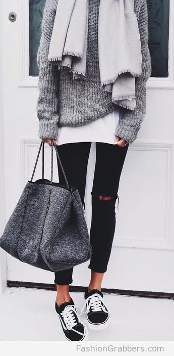 #fall #outfits / Grey Knitted Long Sleeve - Black Ripped Jeans