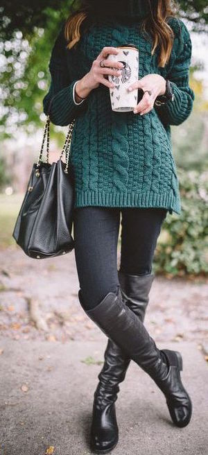 #fall #outfits / Green Knitted Cardigan - Black Tall Boots