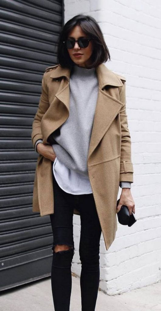#fall #outfits / Beige Jacket - Black Skinny Jeans