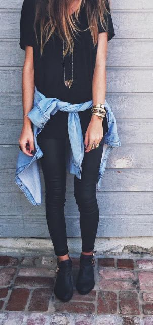 #fall #outfits / All Black - Denim Shirt