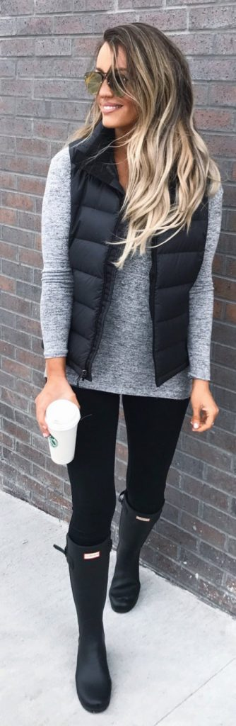 / Black Quilted Vest - Black Hunter Boots