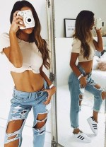 35+ Hottest Women Summer Outfits Ideas With Ripped Jeans To Try