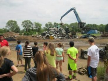 Scrap metal tour during public programs with the Waste Trac Education Team.