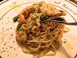 Tagliolini met langoustine bij restaurant Al Bacaro, Amsterdam