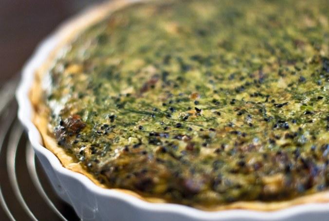 quiche met spinazie, ricotta en nigella sativa