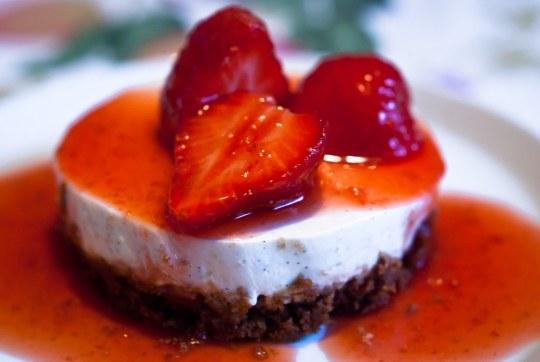 Mini aardbeien cheesecakes