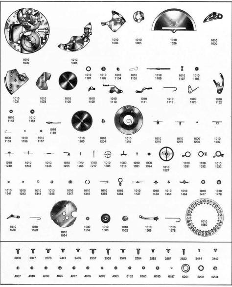 Omega 1012 watch parts
