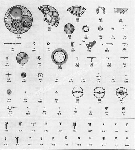 Omega 261 watch parts