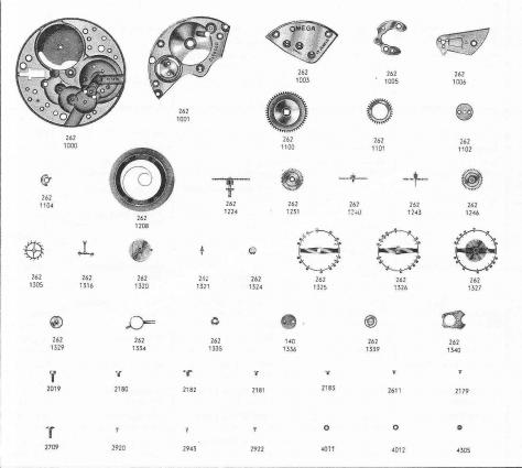 Omega 262 watch parts