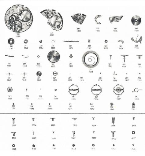 Omega 381 watch parts