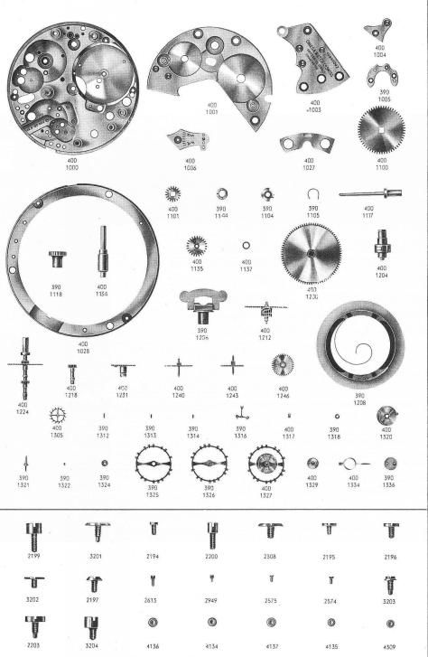Omega 401 watch parts