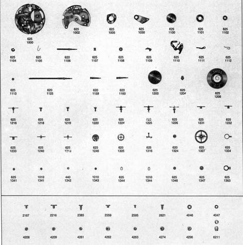 Omega 625 watch parts