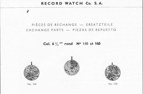 Record 130 watch movements