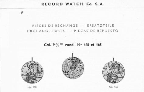 Record 160 watch movements