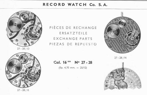 Record 27.28 watch movements