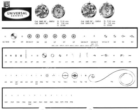 Universal 1105SC watch movements watch spare parts