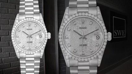 Rolex President Datejust Midsize White Gold Diamond Lugs Watch 68159 | SwissWatchExpo