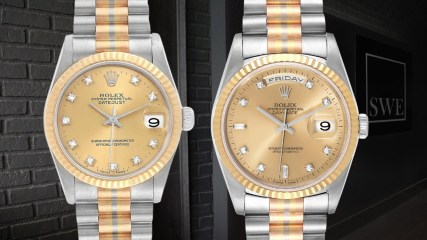 Rolex President Day Date Tridor White Yellow Rose Gold Diamond Watches 18239 | SwissWatchExpo
