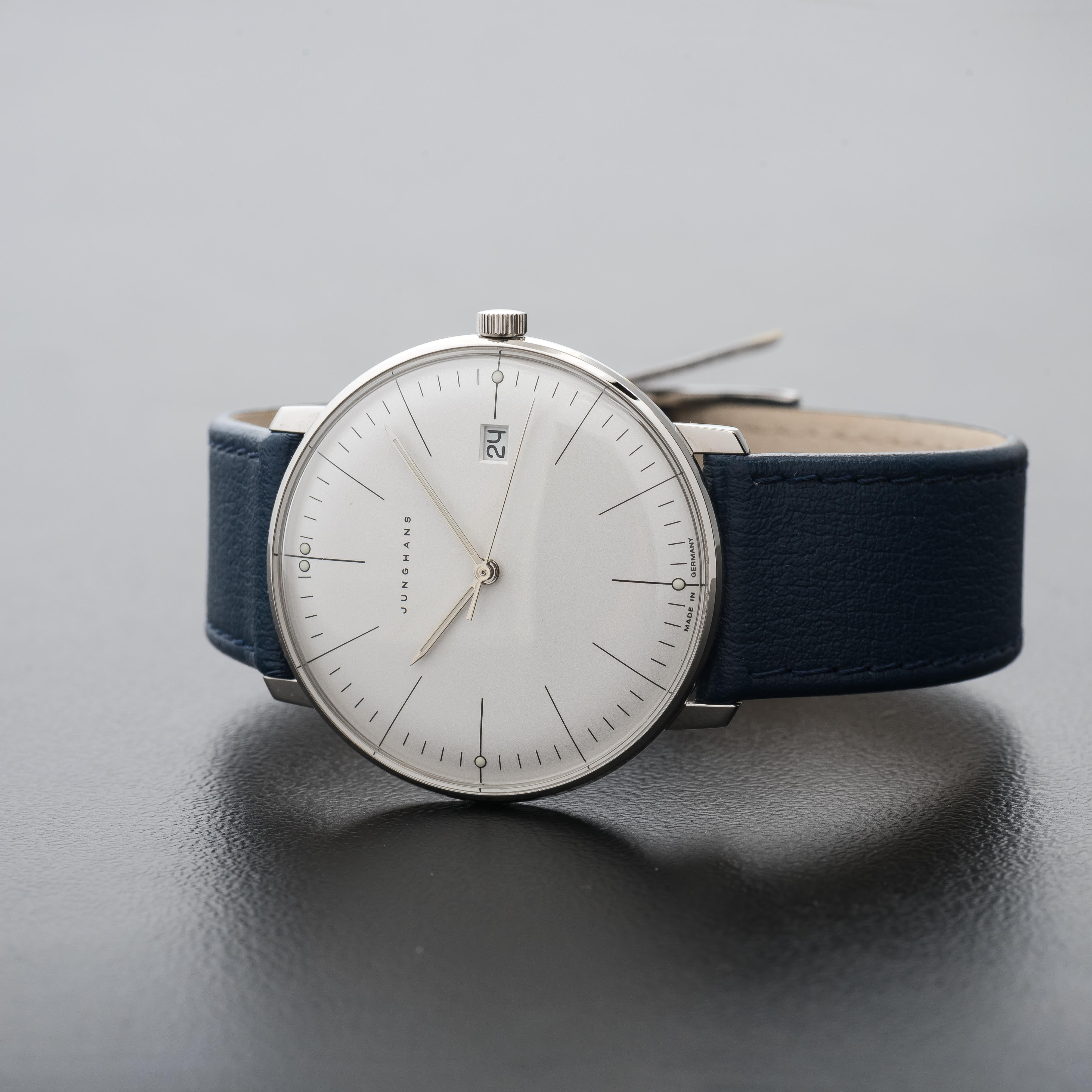 Junghans Max Bill Watch Quartz White Dial Date Blue leather watch 041/4464.00