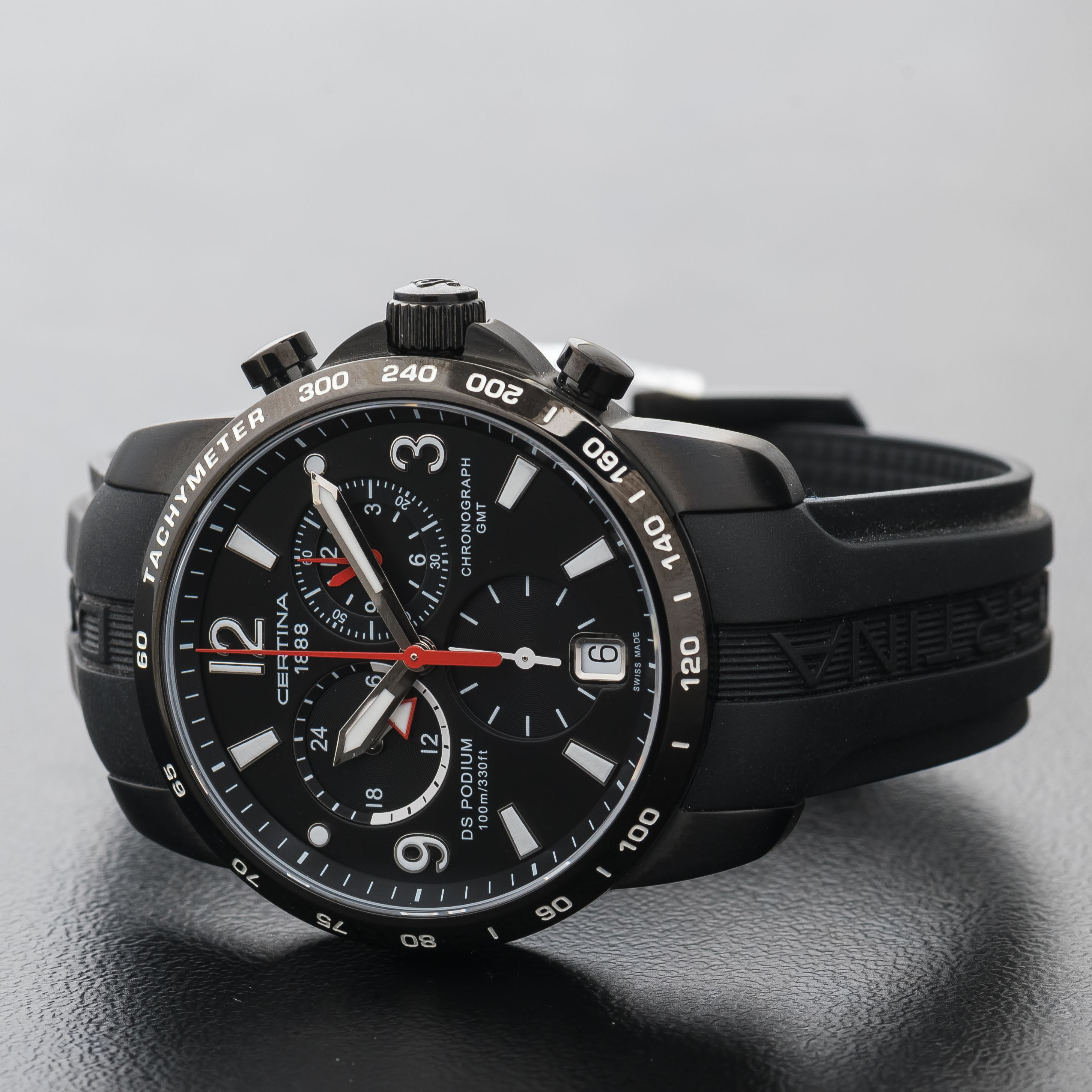 Certina DS Podium GMT Chronograph Big Size Black Dial Men's Watch C0016391605700