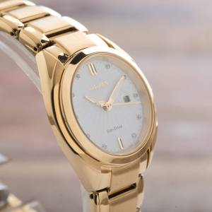 Citizen Ladies Celestial Diamond Gold Tone Date Eco Drive Watch EM0312-57A