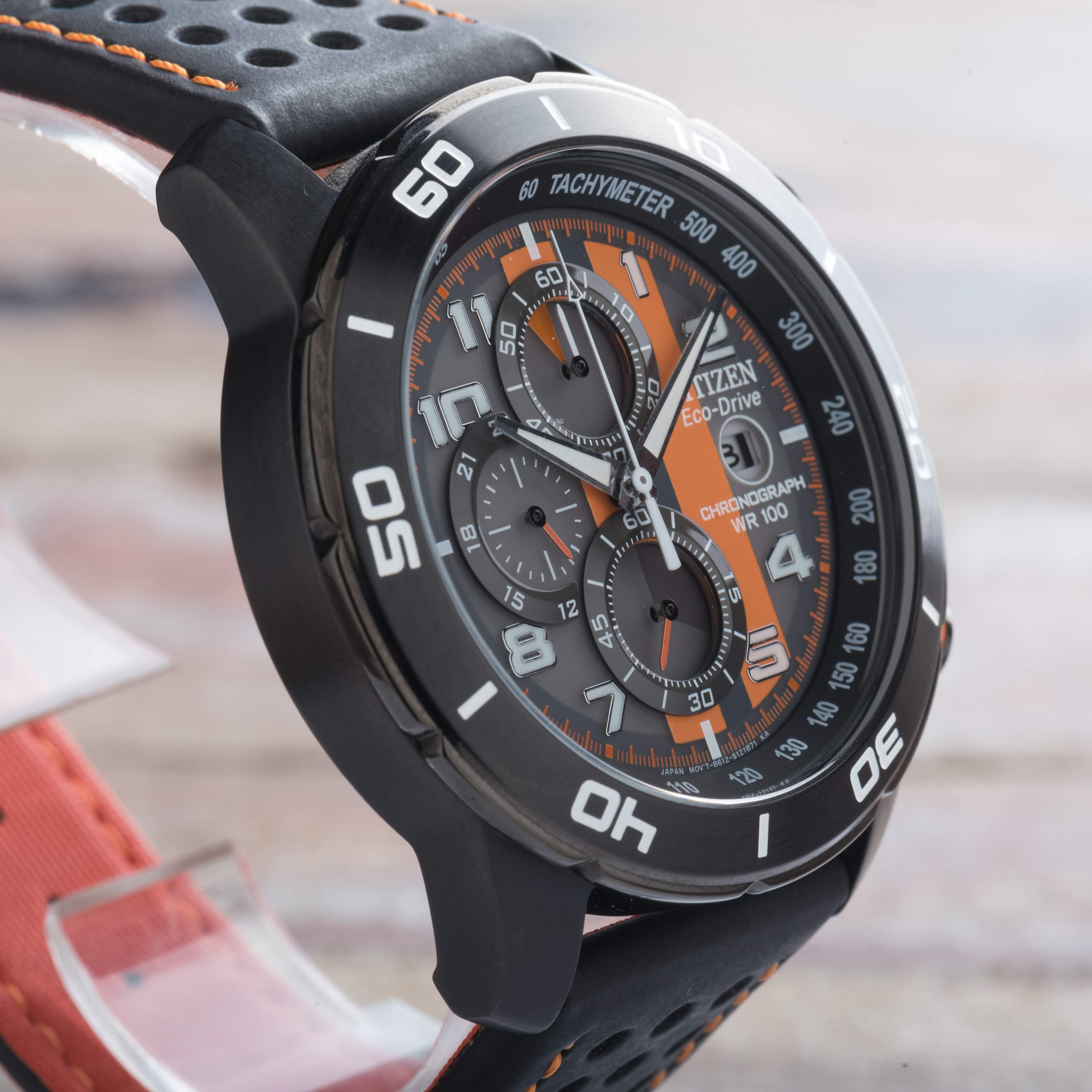 Citizen PRIMO Eco-Drive Chronograph Black Orange Dial Date Watch CA0467-11H